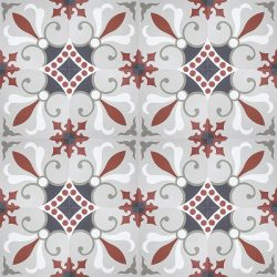 Handmade HAVANA encaustic tile in warm red, greys and white, is fun and colourful. An eclectic design of Cuban origin, floor view - Rever Tiles.