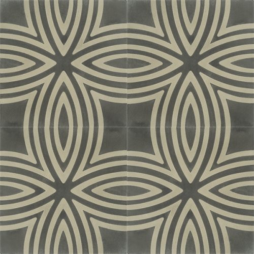Handmade KALAMOS encaustic tile, with rich detail, understated design and a touch of masculinity. Four tile view - Rever Tiles.