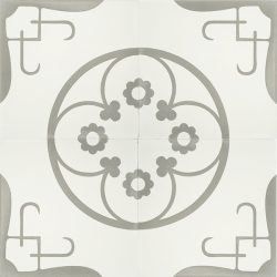 Handmade LORCA encaustic tile of old Spanish design in cement grey and white, the epitome of urban chic, four tile view - Rever Tiles.