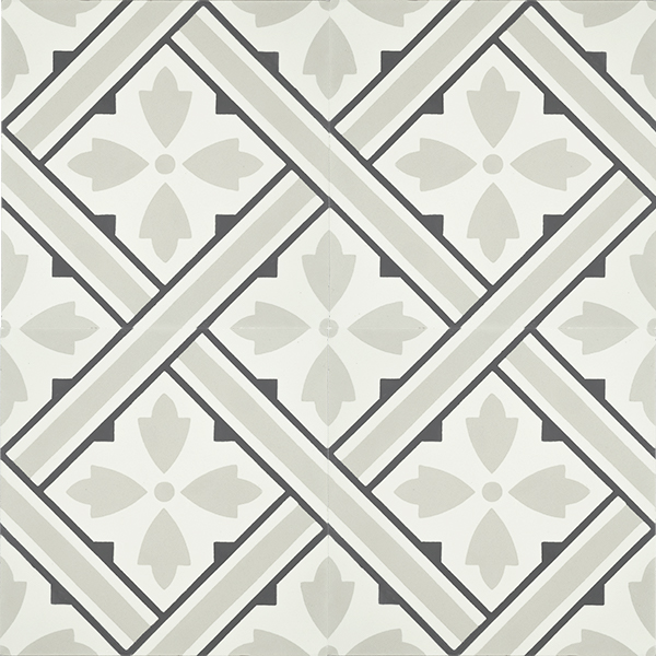 Handmade PANIER encaustic tile, with its basket weave design in soft grey, white and black is nostalgic and gives a strong sense of French countryside. Four tile view - Rever Tiles.