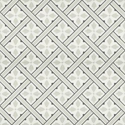Handmade PANIER encaustic tile, with its basket weave design in soft grey, white and black is nostalgic and gives a strong sense of French countryside. Floor view - Rever Tiles.