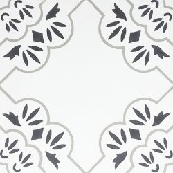 Handmade PARI encaustic tile, with design that is redolent of everything that is Paris, is graceful and enchanting. Four tile view - Rever Tiles.