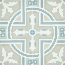 Handmade SANTIAGO encaustic tile, in soft grey and white with accent of frosted teal, a perfect tile for coastal-style design. Four tile view - Rever Tiles.