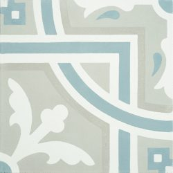 Handmade SANTIAGO encaustic tile, in soft grey and white with accent of frosted teal, a perfect tile for coastal-style design. Single tile view - Rever Tiles.
