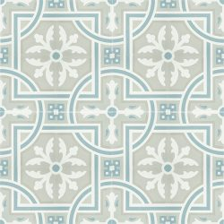Handmade SANTIAGO encaustic tile, in soft grey and white with accent of frosted teal, a perfect tile for coastal-style design. Floor view - Rever Tiles.