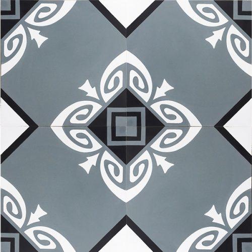 Handmade SOCORRO encaustic tile, of Colombian origin, in steel teal, black and white, four tile view - Rever Tiles.