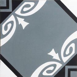 Handmade SOCORRO encaustic tile, of Colombian origin, in steel teal, black and white, single tile view - Rever Tiles.