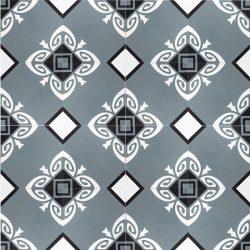 Handmade SOCORRO encaustic tile, of Colombian origin, in steel teal, black and white, floor view - Rever Tiles.