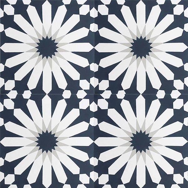 Handmade TANGIER encaustic tile, a classic Moroccan design in dark teal, grey and white, four tile view - Rever Tiles.