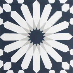 Handmade TANGIER encaustic tile, a classic Moroccan design in dark teal, grey and white, single tile view - Rever Tiles.