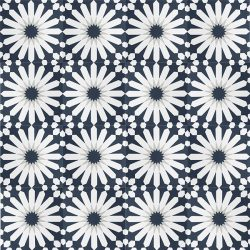 Handmade TANGIER encaustic tile, a classic Moroccan design in dark teal, grey and white, floor view - Rever Tiles.