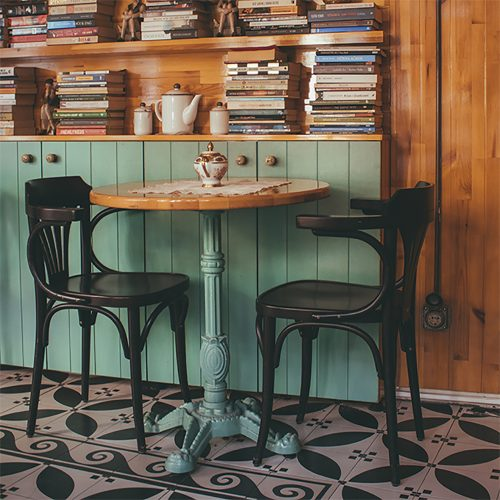 Encaustic cement tile on floor of cafe