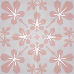 Distance yourself from the traditional and pursue the modernist approach with our delightful handmade AMAPOLA encaustic tile, a floral design in soft coral pink and warm grey. Four tile view - Rever Tiles.