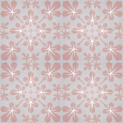 Distance yourself from the traditional and pursue the modernist approach with our delightful handmade AMAPOLA encaustic tile, a floral design in soft coral pink and warm grey. Floor view - Rever Tiles.