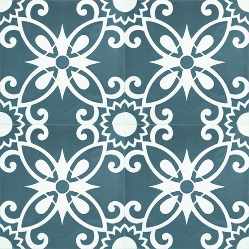 Full of colour, pattern and artistic free spirit, embrace the carefree Bohemian style with our Handmade BOHO encaustic tile in teal blue and white. Four tile view - Rever Tiles.