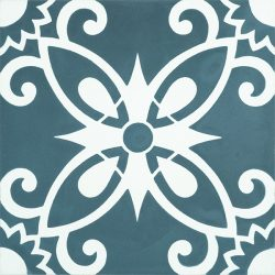 Full of colour, pattern and artistic free spirit, embrace the carefree Bohemian style with our Handmade BOHO encaustic tile in teal blue and white. Single tile view - Rever Tiles.
