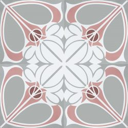 Handmade CIENFUEGOS encaustic tile. Charming French air and feisty Caribbean spirit is blended into one extraordinary design with calming coral pink, white and pale grey colour palette. Four tile view - Rever Tiles.