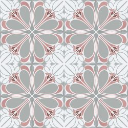 Handmade CIENFUEGOS encaustic tile. Charming French air and feisty Caribbean spirit is blended into one extraordinary design with calming coral pink, white and pale grey colour palette. Floor view - Rever Tiles.