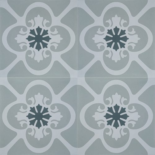 GRACIA encaustic tile with a pared back design and calming colour palette in mixed greys with green undertone, is both timeless and practical. Four tile view - Rever Tiles.
