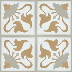Handmade LIRIO encaustic tile. Warm and full of depth, an accent wall or floor adorned with this spirited pattern adds a sense of character and history and the neutral earthy tones a rustic, organic feel. Four tile view - Rever Tiles.