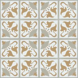Handmade LIRIO encaustic tile. Warm and full of depth, an accent wall or floor adorned with this spirited pattern adds a sense of character and history and the neutral earthy tones a rustic, organic feel. Floor view - Rever Tiles.