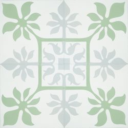Create paradise at home with our tropical inspired, handmade MARCHENA encaustic tile. This reproduction encaustic tile in mint green, cool grey and white, will brighten any space. Four tile view - Rever Tiles.