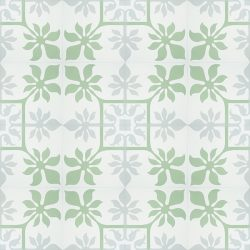 Create paradise at home with our tropical inspired, handmade MARCHENA encaustic tile. This reproduction encaustic tile in mint green, cool grey and white, will brighten any space. Floor view - Rever Tiles.