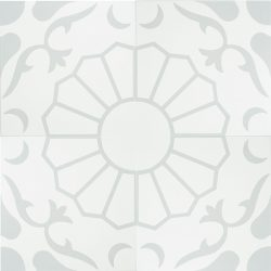 In cool grey and white, our exclusive Margarides encaustic tile with the daisy flower at its core, is simple yet sophisticated. Four tile view - Rever Tiles.