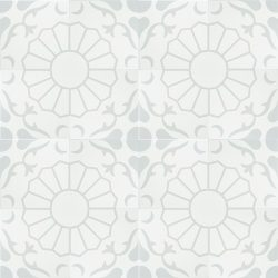 In cool grey and white, our exclusive Margarides encaustic tile with the daisy flower at its core, is simple yet sophisticated. Floor view - Rever Tiles.