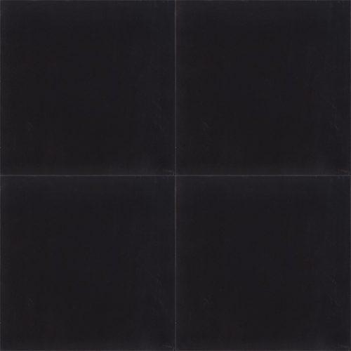 Handmade NEGRO encaustic tile; a black solid colour tile used to establish balance in décor. Four tile view - Rever Tiles.