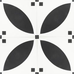 Our Handmade PETAL encaustic tile is a simple take on the ever-popular Corolla encaustic tile. With French flair and a timeless black and white scheme this sophisticated design allows for a unique look that's both warm and contemporary. Four tile view - Rever Tiles.