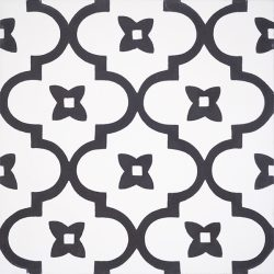 Moroccan style with a rhythmic pattern in black and white that exudes exotic appeal is our handmade ANTIGUA encaustic tile. Single tile view - Rever Tiles.