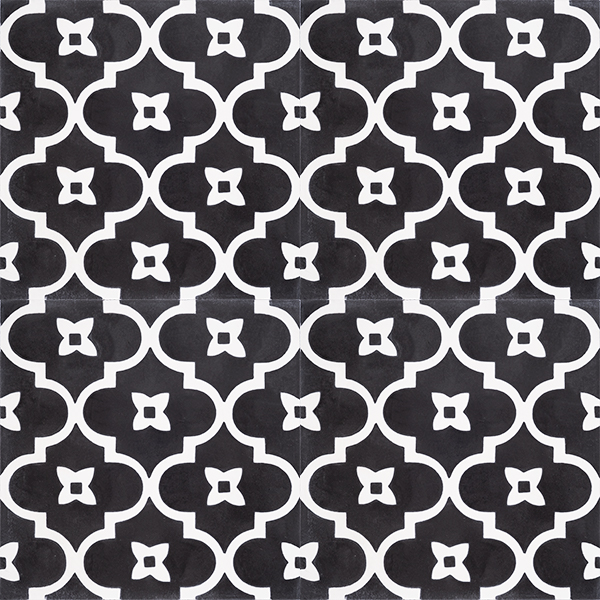 Moroccan style with a rhythmic pattern in black and white that exudes exotic appeal is our handmade ANTIGUA encaustic tile. Four tile view - Rever Tiles.