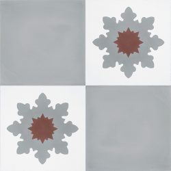 Handmade PLATA encaustic tile, a versatile mid-grey solid colour tile that pairs beautifully with NOELIA encaustic tile. Four tile view - Rever Tiles.