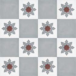 Handmade PLATA encaustic tile, a versatile mid-grey solid colour tile that pairs beautifully with NOELIA encaustic tile. Floor view - Rever Tiles.