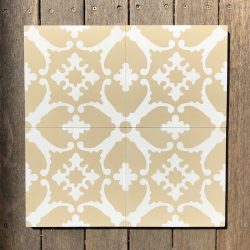 Transform any space into a breathtaking escape with our handmade BAHAMAS encaustic tile. A muted colour scheme of champagne and white, this soft look tile is airy and peaceful. For tile view in natural light - Rever Tiles.