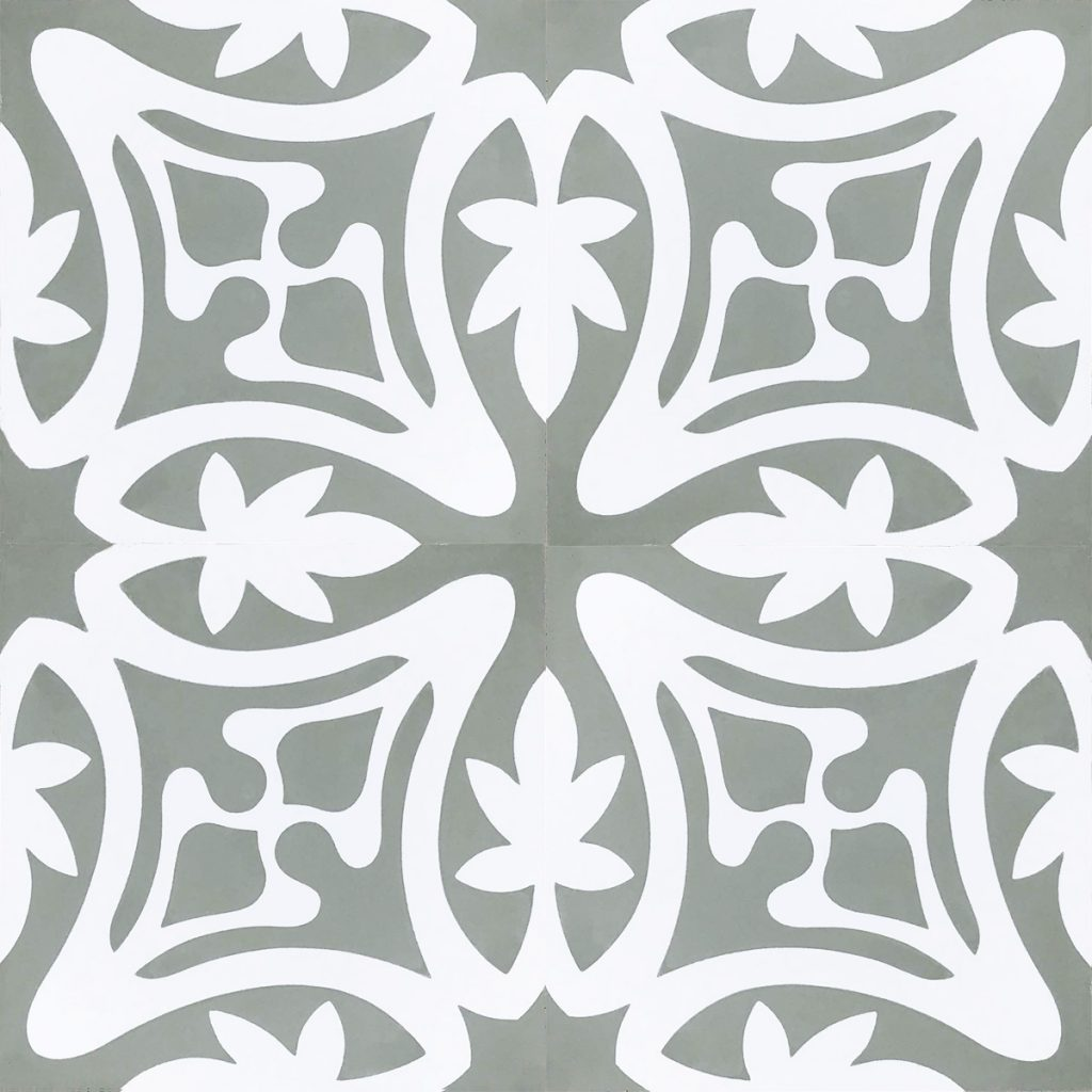 Rana encaustic tile, it's cheerful, charming and oozes character; a fabulous bathroom, laundry, or entryway tile. Four tile view - Rever Tiles.