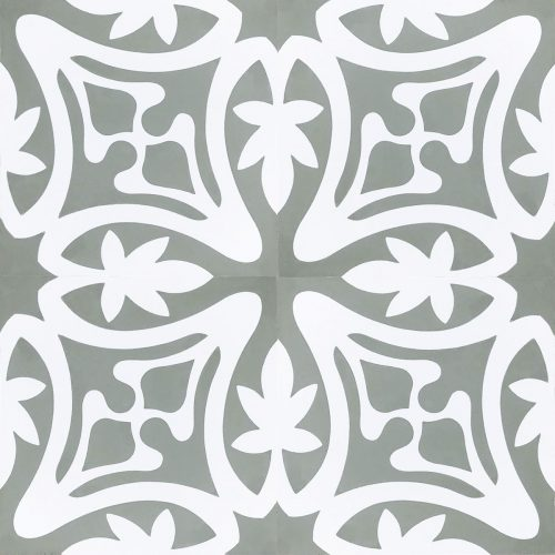 Rana encaustic tile in ash grey with white, has fluidity and balance and instantly adds soul and life to a space, a fabulous bathroom, laundry, or entryway tile. Four tile view - Rever Tiles.