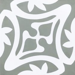Rana encaustic tile in ash grey with white, has fluidity and balance and instantly adds soul and life to a space, a fabulous bathroom, laundry, or entryway tile. Single tile view - Rever Tiles.