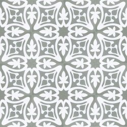 Rana encaustic tile in ash grey with white, has fluidity and balance and instantly adds soul and life to a space, a fabulous bathroom, laundry, or entryway tile. Floor view - Rever Tiles.