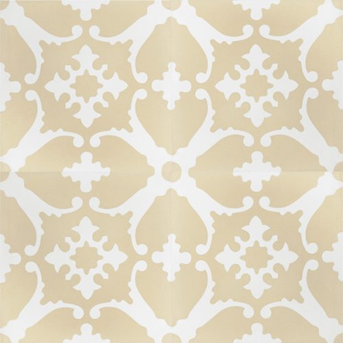Transform any space into a breathtaking escape with our handmade BAHAMAS encaustic tile. A muted colour scheme of champagne and white, this soft look tile is airy and peaceful. Four tile view - Rever Tiles.