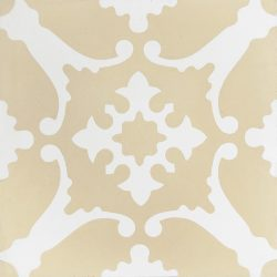 Transform any space into a breathtaking escape with our handmade BAHAMAS encaustic tile. A muted colour scheme of champagne and white, this soft look tile is airy and peaceful. Single tile view - Rever Tiles.
