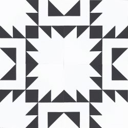 Give black-tie panache to your space with our chic Mexica encaustic tile; behind the seeming simplicity lies the elegance of geometric form. Four tile view - Rever Tiles.