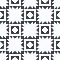 Give black-tie panache to your space with our chic Mexica encaustic tile; behind the seeming simplicity lies the elegance of geometric form. Floor view - Rever Tiles.