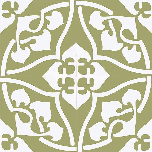 Our exclusive Orsola-2 encaustic tile is indeed special. An 1880's design, Orsola with its graceful curves offers a sophisticated sensibility. Four tile view - Rever Tiles.