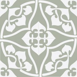 Our exclusive Orsola-3 encaustic tile is indeed special. An 1880's design, Orsola with its graceful curves offers a sophisticated sensibility. Four tile view - Rever Tiles.