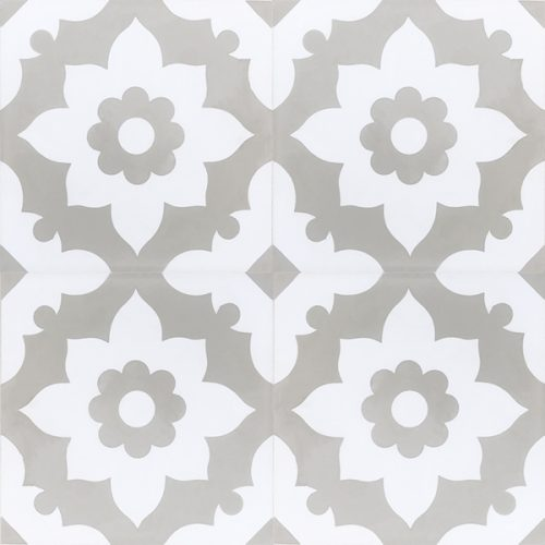 Our Santona encaustic tile in soft transitional grey is a delightful bathroom floor tile that will elevate your space from ho-hum to decadent as a day spa. Four tile view - Rever Tiles.