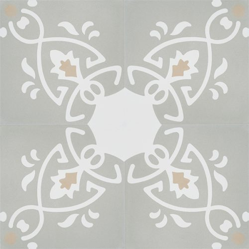 Add warmth and dimension to your room with our original and exclusive Cacabelos encaustic tile in platinum grey hue with white detail. Four tile view - Rever Tiles.
