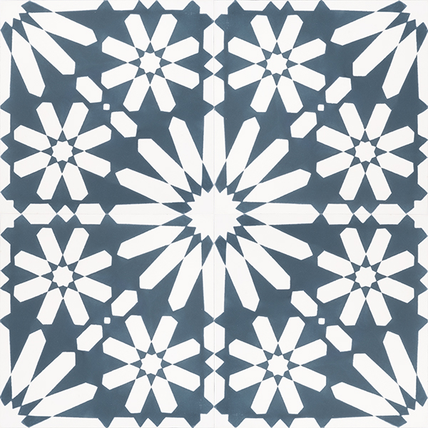 Moroccan style, Fes encaustic tile with an explosion of white flowers on a background of teal blue is absolutely stunning to the eye and a fabulous feature floor tile. Four tile view - Rever Tiles.