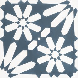 Moroccan style, Fes encaustic tile with an explosion of white flowers on a background of teal blue is absolutely stunning to the eye and a fabulous feature floor tile. Single tile view - Rever Tiles.